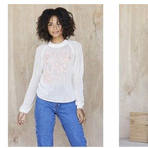 Anthropologie Embroidered Floral Crewneck t shirt